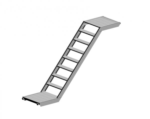 Platforma - laiptai, 0,64m, aliuminis 1