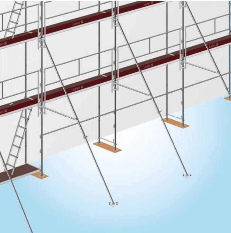 Reguliuojama pastolių atrama – stabilizatorius iki 6,20 m konstrukcijoms